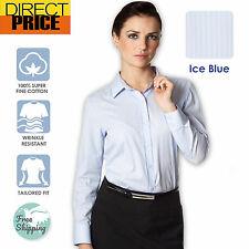 Women Shirts Blouse Tops Cotton Stripe Casual Office Formal Business Tonal Blue