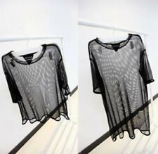 Fashion Sexy Women See New Tops Short Sleeve Through Mesh Tee Shirt Blouse Sheer