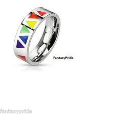 Gay Pride Rainbow Colored Triangle Stainless Steel Rings - New