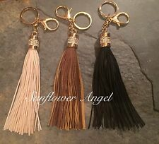 Fabulous faux Leather, Suede Tassel Handbag Charm Or Keyring, In 3 Colours.