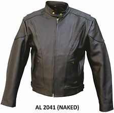 Mens Vented Black Naked Cowhide Leather Motorcycle Jacket Euro collar
