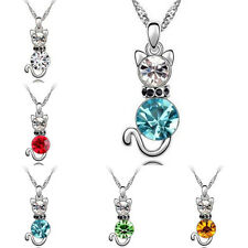 Fashion Charm Jewelry Pendant Silver Chain Rhinestone Crystal Cute Cat Necklace