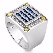 Men's Sterling Silver .925 Ring, 56 Canary Yellow and Blue Cubic Zirconia Stones