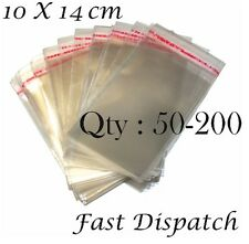 50-200 of 10 X14 cm Clear Cello Cellophane Display bags Self Adhesive Peel& Seal