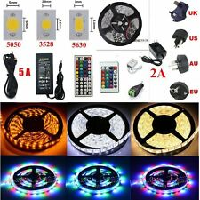 5M 300LEDs SMD 3528 5050 5630 3014 RGB LED Strip Lights 24/44keys 2A/5A Adapter