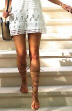 BNWT ZARA CAMEL BROWN LEATHER GLADIATOR ROMAN SANDALS SHOES WITH ZIP! SOLD OUT!