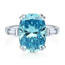 BERRICLE Sterling Silver Cushion Blue Cubic Zirconia CZ Solitaire Cocktail Ring