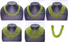 2/3/5/7/9 LINE MULTI NATURAL REAL UNTREATED GREEN PERIDOT GEMSTONE BEAD NECKLACE