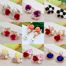 Fashion Womens Gold Plated Crystal Pearl Ear Stud Flower Earrings Jewelry Gift