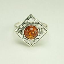 AUTHENTIC BALTIC AMBER 925 STERLING SILVER RING JEWELRY - US SELLER RC7416