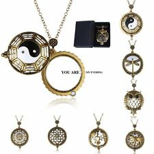 Vintage Gold 5X Magnifying Glass Dragonfly/Owl/Yinyang Pendant Necklace + Box