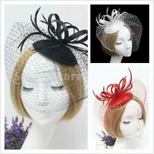 Women Fascinator Wedding Party Veil Feather Hair Clip Hat Mesh Net Handmade