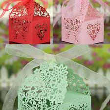 50x Butterfly Laser Cut Candy Gift Boxes Ribbon Wedding Party Favor 3 Colors