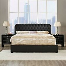 King / Queen Black Tufted Faux Leather Bed Frame 2 Wood Nightstands Bedroom Set