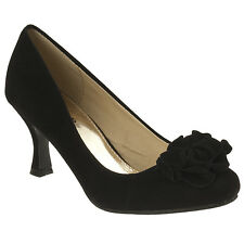 Styluxe Womens Giga Flower-detail Microsuede Pumps