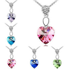Crystal Pendant Silver Chain Choker Statement Bib Heart Necklace Jewelry Charm