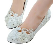 Pearl White Lace Floral Wedding Bridal Shoe High Heels Flat Platform Party 004 L