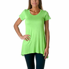 Riverberry Women's Solid Pullover Short Sleeve Tunic Dolman Top