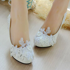 Pearl White Lace Butterfly Bridal Bride Shoes High Heels Flat Platform Party L