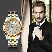 Mens Luxury Dress Watches Stainless Steel Roman Numeral Date Analog Quartz Watch