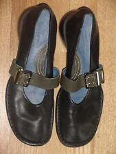 Adorable INDIGO By CLARKS Mary Jane Flats Shoes 7 Black Leather with Green EUC