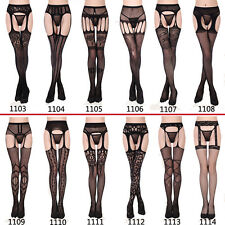 Women Sexy Black Lace Top Thigh-Highs Stockings & Garter Belt Suspender One Size