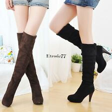 Women's Fashion Faux Suede Over the Knee Thigh Stretchy High Heels Boots Shoes