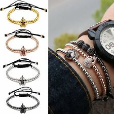Adjustable Helmet Beads NEW Macrame Rope Bracelet Stone Braiding Bangle Men Gift