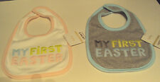Infant Girls Carters Little Collection My First Easter Bib White Pink Trim