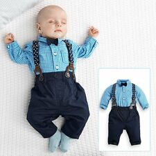 3PCS 0-24M Baby Boys Plaid Shirt Bow tie  Suspender Trousers Formal Clothes Set