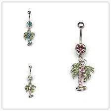 New 14G Rhinestone Coco Tree Shape Navel Belly Button Ring Belly Body Jewelry