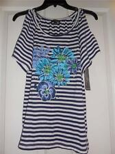 Petite Size PS Navy Striped Open S/S Top NEW BY Ava & Grace