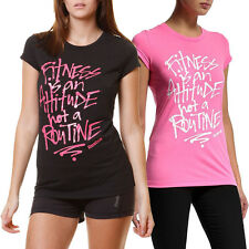 Reebok PlayDry Womens Graphic Fitness T-Shirt Short Sleeve Gym Tee Top