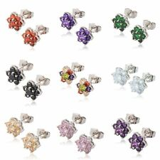 Statement Cute Womens silver plated rainbow crystal small Flower stud earing