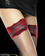 FIORE Sheer Black Holdups Stockings with Red Lace Hold up Model: NOCTURNE