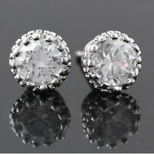 New Chic 18K White Gold Crown Crystal Princes Plated Ear Stud Earring Jewelry
