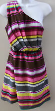 Juniors NWT Lily Rose Summer One Shoulder Striped dress XS S M L XL FREE SHIP