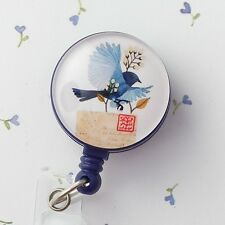 Retractable ID Badge Reel - Bluebird and Letter - Bird Badge Reel - 263