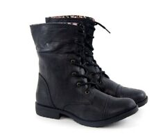 Women Ladies Military Combat Boots Mid Calf Lace Up Casual Floral Red Motorcycle