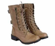 Women's Mid Lace Up Boot Ankle Cowboy Combat Fashion Military Boots Tan