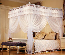White Luxury Hight QC 4 Post Bed Curtain Canopy Mosquito Net Twin Queen Size