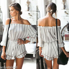 Women Off Shoulder Casual Daily Holiday Sexy Ladies Jumpsuits Summer Rompers