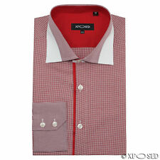 Mens Red Gingham Check Smart Casual Slim Fit Long Sleeve Designer Style Shirt