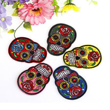 1Pc DIY Embroidered Cloth Iron On Patch Sew Motif Applique skull Crafts BUAU