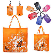 Portable Foldable Eco Shopping Bags Shoudler Bag Reusable Tote In Pouch Clips