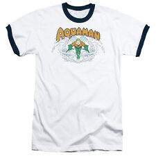 T-Shirts Sizes S-3XL New Authentic Aquaman Splash Mens Ringer Tee Shirt