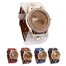 Fashion Women Antique Bracelet Bangle wristWatch PU Leather Crystal quartz Watch