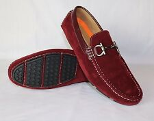 RED MENS ITALIAN TRIM LOAFERS MOCCASIN CASUAL PARTY SLIP ON SHOES
