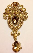 LARGE GOLD STATEMENT BROOCH WITH CRYSTAL STONES BRIDAL