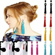 Women Fashion Charming Yarn Long Tassel Resin Diamante Stud Dangle Earrings Gift